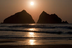 Sun set over Holywell Bay North Cornwall Royalty Free Stock Photo