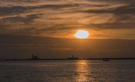 Sun set over Lake Erie. Sun is setting over the Lake Erie, Cleveland Stock Images