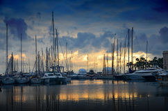 The sun set over the marina in Cannes Royalty Free Stock Photo