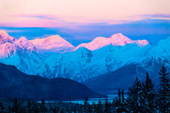 Sun set Over Mountains Royalty Free Stock Photography