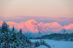 Sun set Over Mountains Royalty Free Stock Images