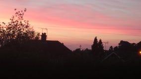 Sun set. Red sky at night stock photos