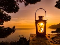 Sunset in a lantern. stock images