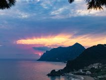 Sunset at kontogialos beach Corfu island greece Stock Photography