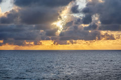 Sun set at sea Stock Photography