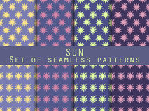 Sun. Set of seamless patterns. The pattern for wallpaper Royalty Free Stock Photo