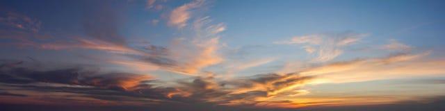 Sun set sky. With cloud, panoramic image Stock Photos