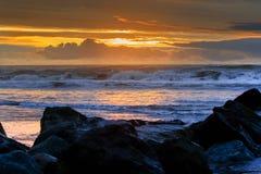 Sun set sky at hokitika beach west coast south island new zealand Royalty Free Stock Photography