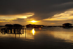 Sun Set at Songkhla Lake Royalty Free Stock Photography