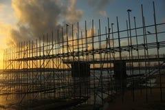 Sun set with steel ,Gall-face, Sri lanka, stock photos