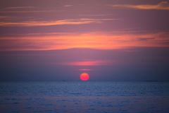 Sun set in the summer at pattaya beach Royalty Free Stock Image