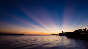 Sun set with sun rays at Tamsui Royalty Free Stock Photo