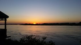 Sun set. Sunset over the Miss. River beauty of mother nature royalty free stock photos