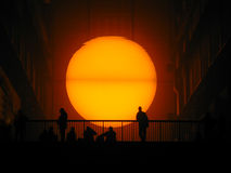 Sun set at the Tate Modern stock image