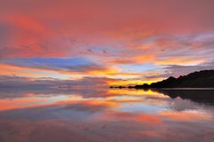 Sun set Uyuni salt flat Royalty Free Stock Photography