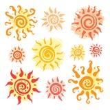 Sun set. Vector hand drawn illustration. Royalty Free Stock Photos