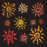 Sun set. Vector hand drawn illustration. Royalty Free Stock Image