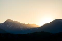 Sun sets behind Cashmere Mountain, Washington, US Stock Photos