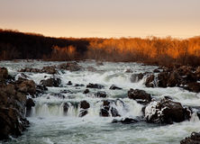 Sun sets behind Great Falls near Washington. Great Falls on the Potomac near Washington at sunset with the sun illuminating the trees royalty free stock photography