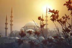 The sun sets behind the Suleymaniye Mosque in Istanbul. The sun sets next to the impressive Suleymaniye Mosque. one the most famous architectural achievements of royalty free stock photography