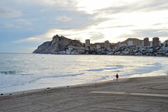 The Sun Sets In Benidorm royalty free stock photography