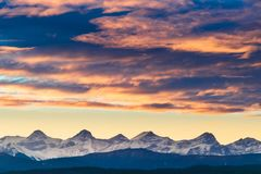 A Blazing Sunset over Kananaskis Country, Canadian Rockies stock photography