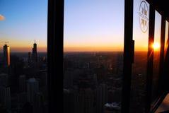 The sun sets on the Chicago skyline