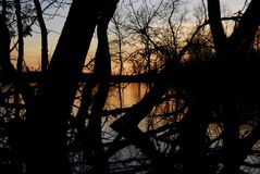 Dry Lake Sunset. The Sun sets on Dry Lake in Michigans Upper Peninsula, behind the dark silhouettes of trees and branches royalty free stock photo