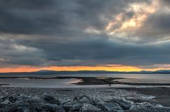 Fiery sunset over Morecambe Bay royalty free stock image