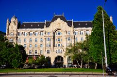 Four Seasons Hotel Gresham Palace Budapest in Budapest, Hungary. The sun sets on the Four Seasons Hotel Gresham Palace Budapest in Budapest, Hungary stock images