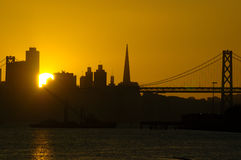 Sun Sets In San Francisco Down Stock Images