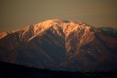 The Sun Sets on Mount Baldy stock image