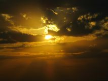 The sun sets is one of the most beautiful power of god stock photography