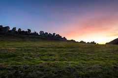 Sunset over the China Wall. The sun sets over the China Wall in the Diablo Foothills of Contra Costa County, California royalty free stock image