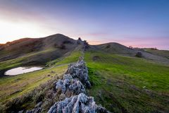 Sunset over the China Wall. The sun sets over the China Wall in the Diablo Foothills of Contra Costa County, California royalty free stock images
