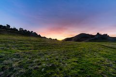 Sunset over the China Wall. The sun sets over the China Wall in the Diablo Foothills of Contra Costa County, California royalty free stock photography