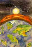 The sun sets over the edge of the planet with a sinister fiery atmosphere view from space watercolor stock images
