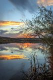 Snake River Sunset. The sun sets on the Snake River at Three Island State Park, Glenn`s Ferry, Idaho, USA stock images