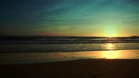 Sun sets in Southern California beach stock video footage