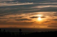 Sun setting across False Bay Royalty Free Stock Photo
