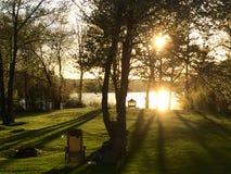 Sun setting in backyard royalty free stock photo