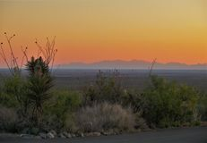 Sunset at Oliver Lee Memorial State Park. The sun setting behind the Organ Mountains to the west of Oliver Lee Memorial State Park in Alamogordo, New Mexico Stock Photos
