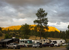 The sun setting at a campground in colorado Stock Images