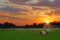 Sun setting on hay field Royalty Free Stock Photos