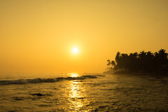 Sun Is Setting On Horizon At Sunset. Sunrise Over Sea Or Ocean. Royalty Free Stock Photos