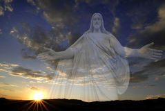 Sun Setting with Jesus royalty free stock images