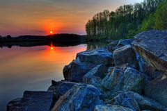 Sun Setting on a Lake. Beautiful sunset on Chambers Lake, Pennsylvania stock photo