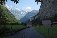 Sun is setting at the Lauterbrunnen Valley (Berner Oberland, Switzerland) Stock Photography