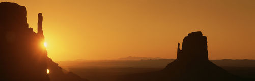 Sun setting at Monument Valley, Stock Image