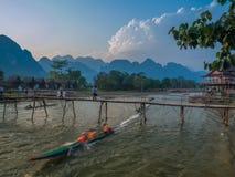 Sun setting on Nam Song River, Laos Royalty Free Stock Photo